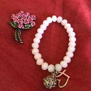 Avon pink breast cancer bracelet floral pin brooch